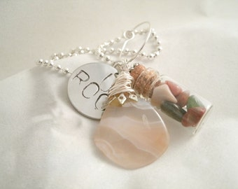 Hand stamped Necklace with U Rock (You Rock) Polished Rock Necklace with Polished Agate Rock Handmade Designed