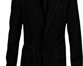 Black blazer with collar red/white/green trimmed / jacket.