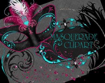 Masquerade Clipart, Mardi Gras Clipart, Masquerade Graphics