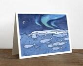 Belugas Card - Aurora Borealis Christmas Holiday Stationary