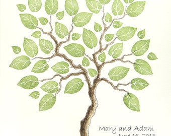 Wedding Tree Guest Book SMALL Family Tree Original Watercolor Painting with PRESTAMPED LEAVES