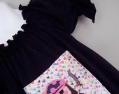Appliqued Pirate Girl Black Knit Dress Size 1 to 8 - JuvieMoonDesigns