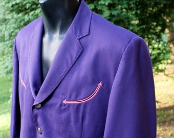 MANUEL Cuevas Mens Short Western Jacket - Purple with Coral Trim and Arrow Points - Custom -  44