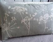 hand printed eau de nil cow parsley and seed head cushion cover