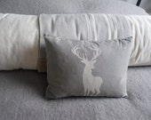 hand printed muted grey  white hart linen stag cushion
