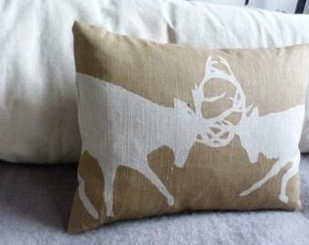 hand printed acorn brown linen rutting stag cushion