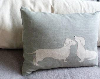 hand printed  duck egg daschund pair cushion