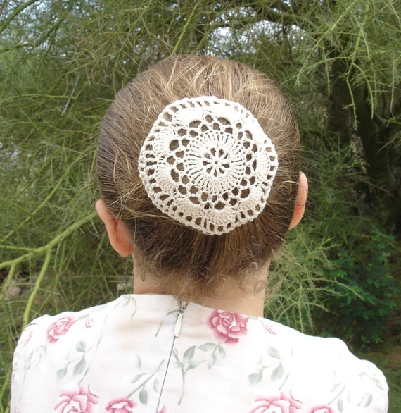 Crochet Hair Net : Crocheted Natural Hair Net / Bun Cover Flower Style Amish Mennonite