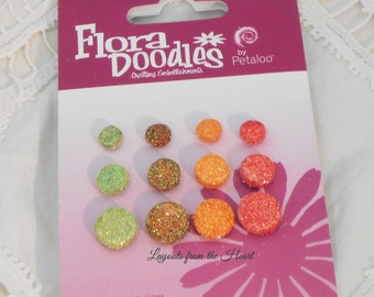 Petaloo Glitter Foam Brads - Flora Doodles Retro Rage scrap booking embellishments  - Retail 2.99: Glitter Pop up brads 4251100
