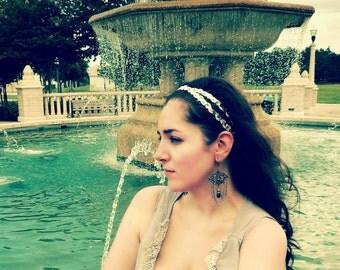 Silver Sequin Grecian Goddess Headband - Double Strand Bohemian Head Wrap