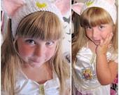 White Moon Kitty Headband Ear Warmer