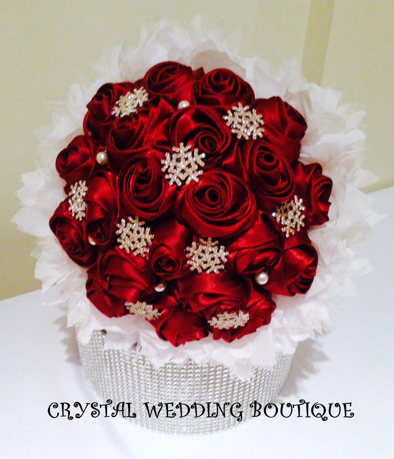 Christmas Wedding Bouquets And Flowers: Christmas Winter Wedding Bouquet By CrystalWeddingBtq On Etsy