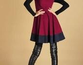 Mini wool dress - short sleeve winter dress - fit and flare dress - patchwork dress - winter dress (427)