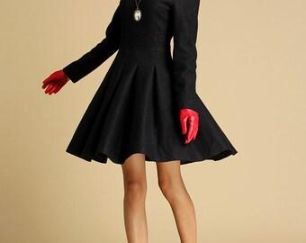 Black wool winter mini dress (352)