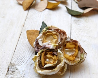 OOAK Corsage, Autumn Fall Flowers Brooch, Mustard Cream Brown