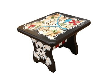 Pirate Theme Hand Painted Stool 7.5H X 8.75W X 10.5L