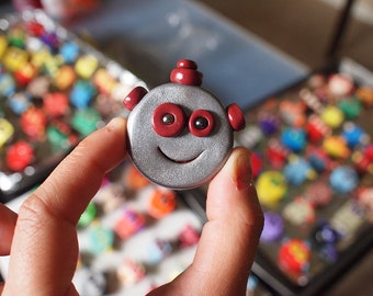 100 Robot Face Brooches or Magnets - Wedding Favors MADE TO ORDER Random Assortment - Clay, Wire, Paint