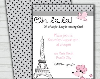 Paris Poodle First Birthday Party Invitation