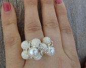 Large Cocktail Ring - Ivory White pearls, magnesite stone, wire wrap ring, silver wire ring (R48)