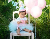 Cotton Candy Tutu Shirt and Birthday Hat 4 Piece Set