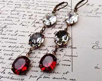 Georgia Bulldogs Earrings Black Red Swarovski Crystals UGA University of Georgia Colors