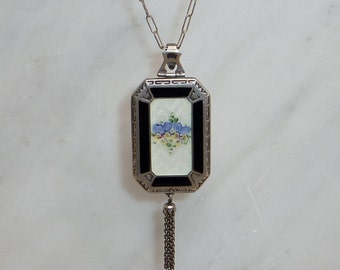 Vintage Silver 1920s Black & White with Pansies Enamel Locket Necklace with Chain Tassel