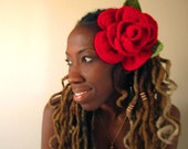 The ROSE- Hippie Dread Head band (RED Rose)