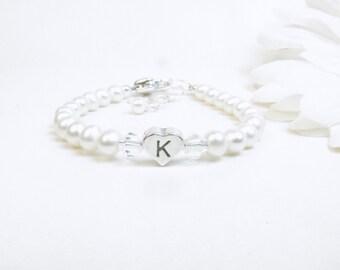 Baby Bracelet // Baby Girl Bracelet // Child Pearl Bracelet // Real Pearl Bracelet // Pearl Initial Bracelet // Flower Girl Bracelet