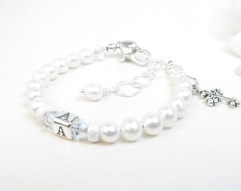 Christening Bracelet // Baptism Bracelet // Baby Girl Bracelet // Baby Bracelet // Baptism Gift // Baby Baptism // Cross Bracelet
