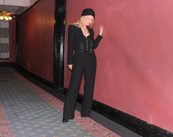 Vintage 1980s Designer Jumpsuit Pantsuit w Cropped Jacket in Black w Hearts by Alberto Makali New York . Womens Size 8