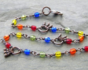 Rainbow Copper Ankle Bracelet Red Orange Yellow Green Blue Czech Glass Beads Anklet Gay Pride Symbolism Artisan Jewelry
