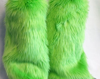 Lime Green Monster Leg Warmers / Fluffies / Boot Covers - Cosplay / Furry / Animal / Rave