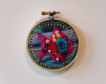 """Small Embroidery Hoop Art Titled """"Jewels"""""""