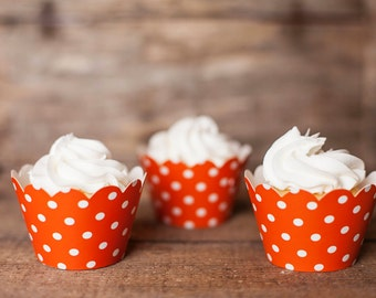 24 Orange Polka Dot Cupcake Wrappers - Orange Cupcake Wrappers - Great for Birthday Parties, Baby Showers & Bridal Showers