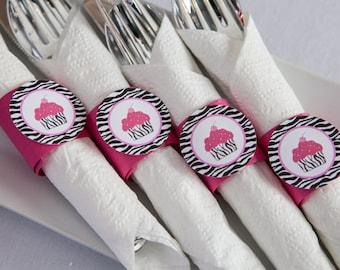 Cupcake Baby Shower - Napkin Rings - Silverware Wraps - Zebra Cupcake Shower Decorations in Hot Pink & Zebra (12)