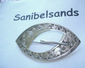 Sash  Buckle Brooch Silver Plated