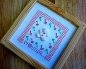 Completed Cross Stitch Picture for Baby Girl in Wooden Frame in Pink and Green