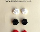 3 Sets Small Flower Mum Rose Post Earrings White Black Red