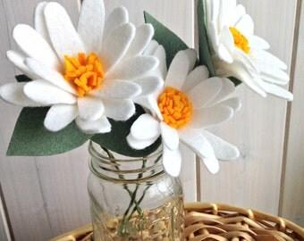 Handmade Felt Flower Stems - Daisy (Bunch of 3 stems!)