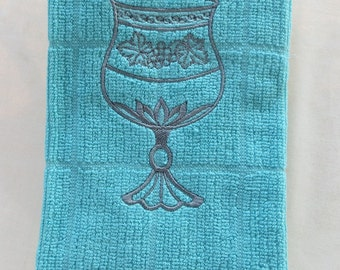 Turquoise Blue Dish Towel with  Embroidered Wine Cup  Great for Jewish Holidays