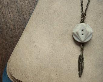 Vintage Geometric Button and Feather Necklace - Desert Denizen