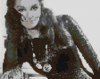 Julie Newmar as Catwoman counted Cross Stitch Pattern in grayscale - instant download