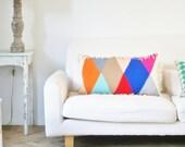 wood & wool harlequin stripes pillow