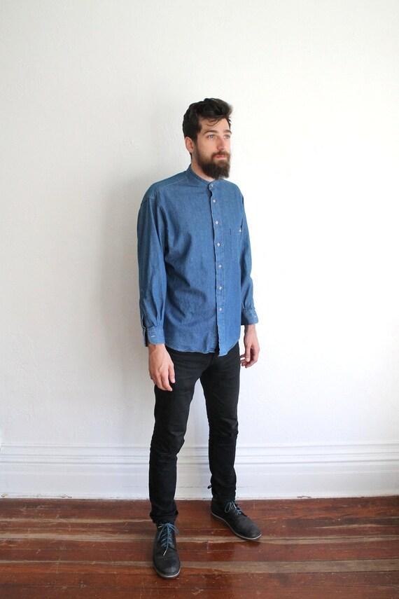 Vintage 90s Men's Collarless Blue Denim Button Up Shirt // Long Sleeve