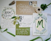 Earthy Watercolor Wedding Invitations - Greens / Beige / Earth Hues - Painting / Calligraphy - Customizable