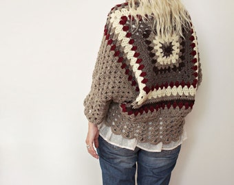 Womens Fashion, Womens Crochet Cardigan, Boho Cardigan, Gift for her, For Wife, Hand Knit Cardigan, Winter Fashion, Oversized Shrug