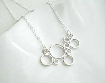 Bubble Necklace In Sterling Silver. Circle Pendant, Modern. Geometric Jewelry. White, Gift For Her.