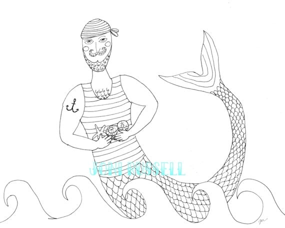 Merman With Gifts Digital Coloring Page