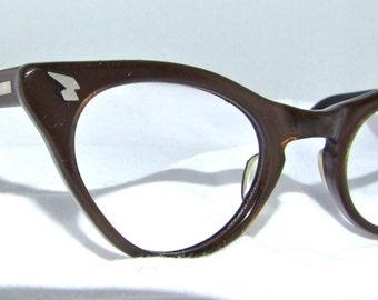 1950s Cats Eye Eyeglasses // 50s Vintage Frames // Brown Pearlised // Can Op Brand