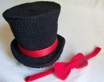 Steampunk - Baby Top Hat - Bow Tie - Tuxedo Hat - Newborn Top Hat - Abraham Lincoln Top Hat - Ring Bearer Outfit - Baby Circus Outfit